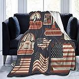 Searster$ Throw Blanket USA-Flagge Reisetaschenanhänger Sherpa-Decke Bequeme...