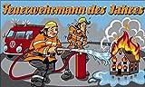 Fanshop Lünen Fahne - Flagge - Feuerwehrmann des Jahres - Wasser - Feuer - Auto - Wasser- Helm - 90x150 cm - Hissfahne mit Ösen -