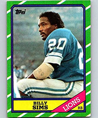 1986 Topps Football #244 Billy Sims Detroit Lions Official NFL Trading Card (Stock Photo Used - Near Mint or better Guaranteed)