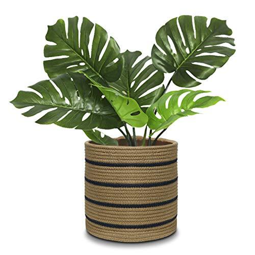 Cesto per piante in corda di cotone per vasi da 25,4 cm, cesto in tessuto, cesto portaoggetti, organizer moderno per la casa, 27,9 x 27,9 cm
