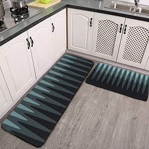 Juego de 2 alfombras y alfombrillas de cocina Zig Zag, negro, verde azulado, gris, absorbente, antideslizante, suave, para suelo de cocina, entrada, pasillo y comedor, lavandería