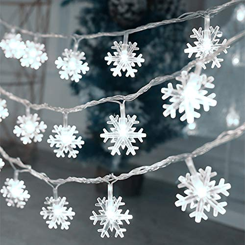 Christmas Lights, 20 FT 40 LED Snowflake String Lights Battery Operated Waterproof Fairy Lights for Bedroom Patio Room Garden Party Home Xmas Decor Indoor Outdoor Christmas Tree Decorations Cool White