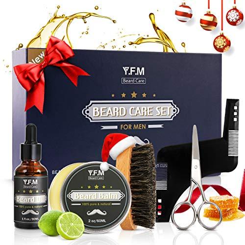 Y.F.M Kit de Cuidado de Barba, Regalo de Cuidado Barba - 30ml Aceite de Barba, 60ml Bálsamo, Barba Peine, Tijeras Acero Inoxidable, Plantilla Peine - Regalo Ideal para Todas Ocasiones y Aniversarios
