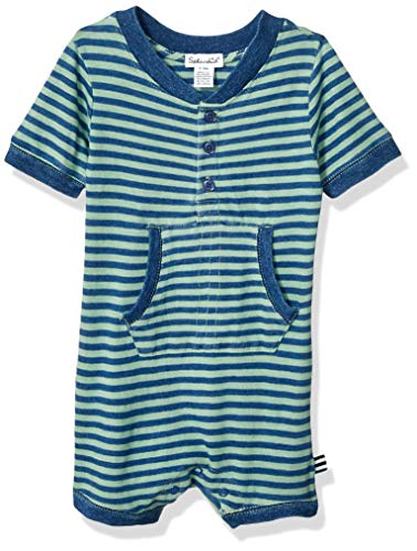 Splendid Baby Boys One-Piece Bodysuit -Yarn dyed indigo stripe onesie, Wake Green 3/6