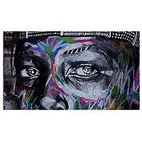 """キャンバスに描かれた絵画落書き顔写真ウォールアートポスター&プリントリビングルーム寝室家の装飾31.4"""" x62.9""""(80x160cm)フレームレス"""