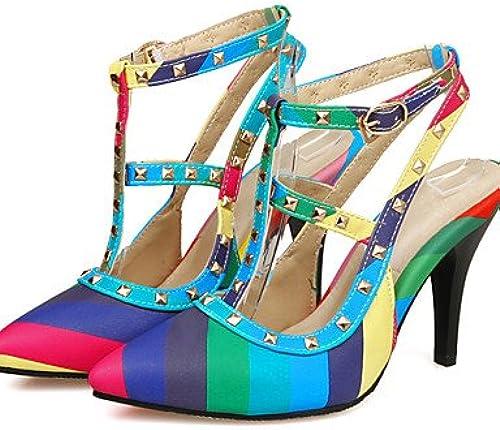 GGX  Chaussures Femme-Habillé   Décontracté    Soirée & EvéneHommest-Bleu   Jaune-Talon Aiguille-Talons-Chaussures à Talons-Microfibre  différentes tailles