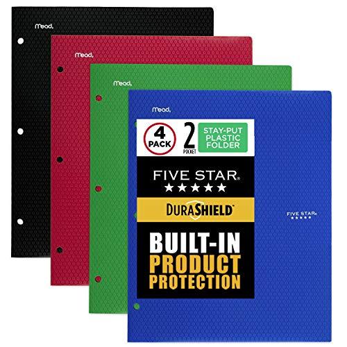 Five Star DuraShield Antimicrobial 2-Pocket Stay-Put Plastic Folder, 4 Pack (330010-ECM)