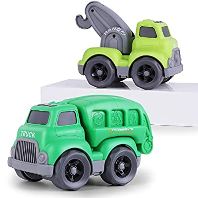 iPlay, iLearn Large City Vehicles Play Set, Garbage Truck, Tow Truck, Recycling Rubbish Trash Car W/ Back Opened, Toddler Push Crane Car Toy, Gifts for 18 24 month, 2 3 4 Year Olds, Kids Boys Children