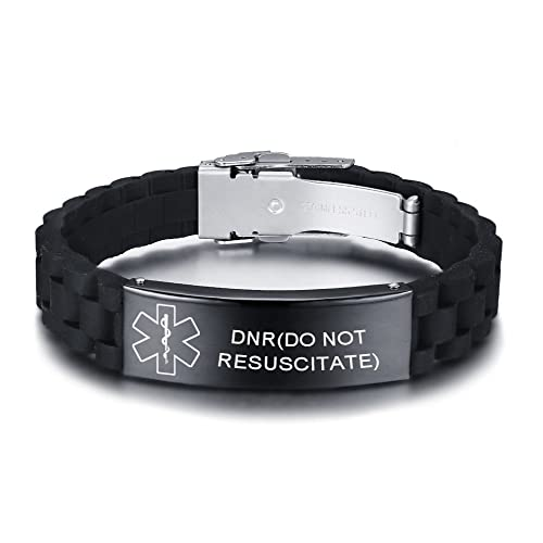 e2c886a3f51f VNOX Personalized Custom Medical Alert Stainless Steel ID Tag Black Silicone  Rubber Adjustable Bracelet Men