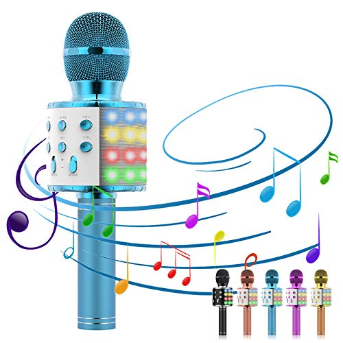 Karaoke Microphone, 5-in-1 Microphone for Kids Portable Handheld Bluetooth Microphone, Microphone for Singing with LED Speaker Player Recorder Kids Microphone for gifts/Adults/Home KTV Party (Blue)