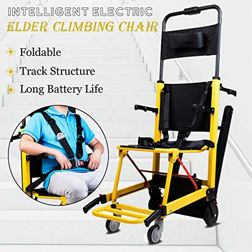 ZJDU Treppensteigender Rollstuhl,4 Rad-Faltbare Raupen-Evakuierungs-Treppen-Sessellifte,350 Lbs Motorisierter Treppenstuhl 200W Emergency Stair Kletterstuhl Für Senioren