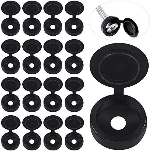 500 Packs Hinged Screw Cover Caps Plastic Screw Caps Fold Screw Snap Covers Washer Flip Tops (Black)
