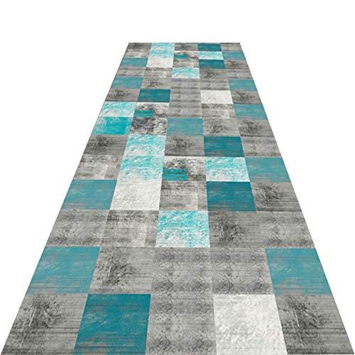 JLXJ Stair Outdoor Runner Carpet, Modernlarge Blue Grey Square Trellis Home Step Mats, Hallway Kitchen Bedroom Non-Slip Durable Mat (Size : 140×450cm(4ft×14.5ft))
