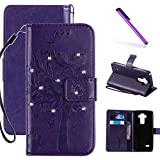 LG G3 Case, LEECOCO Embossed Floral 3D Handmade Bling Crystal Diamonds Butterfly with Card Slots Magnetic Flip Stand PU Leather Wallet Case for LG G3 Wishing Tree Purple