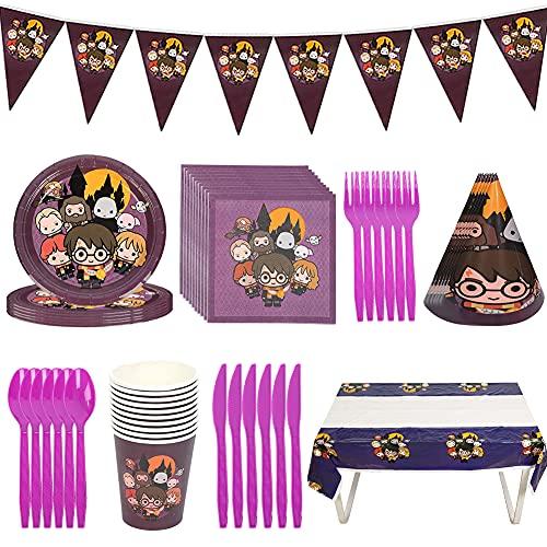 Vajilla de Fiesta,CBOSNF 78 PCS Suministros de Fiesta de Harry Potter,Vajilla Fiesta de Cumpleaños Para Niños,10 Platos,10 Tazas,20 Servilletas etc