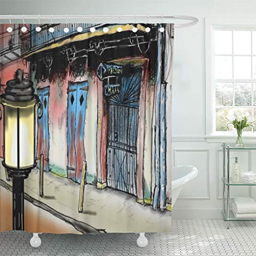 "Semtomn Shower Curtain Jazz Preservation Hall New Orleans by Jazzy Mardi Gras 72""x78"" Home Decor Waterproof Bath Bathroom Curtains Set with Hooks"