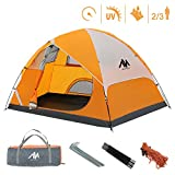 Camping Tents for 2-3 Person/People/Man, AYAMAYA Lightweight Easy Setup Double Layer Dome Tents with 3 Mesh Windows for Couples Family Backpacking Hiking