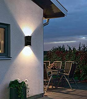 LED Waterproof Wall Light, Yosoan 6W 86V-265V IP65 Matte Aluminum Black Mount Up and Down Garden Light Fixture Indoor Outdoor (White)