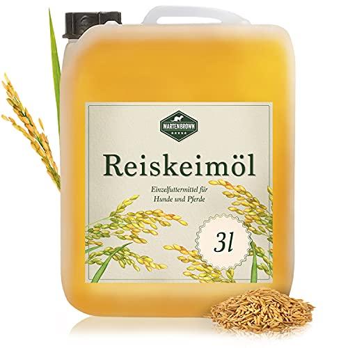 Martenbrown® Reiskeimöl für Pferde, Hunde und Esel im 3 Liter Kanister (raffiniert) für Muskelaufbau | Nahrungsergänzung für Trockenfutter, Dosenfutter oder als Barf-Öl