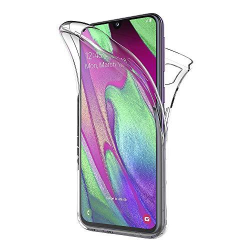 AICEK Compatible Samsung Galaxy A40 Hülle, 360°Full Body Transparent Silikon Schutzhülle für Samsung A40 Case Durchsichtige TPU Bumper Galaxy A40 Handyhülle (5,9 Zoll)