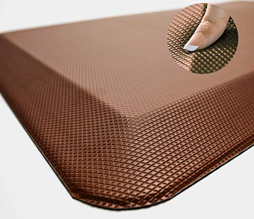 Sky Solutions Anti Fatigue Mat - Cushioned Comfort Floor Mats for Kitchen, Office & Garage - Padded Pad for Office - Non Slip Foam Cushion for Standing Desk (20x32x3/4-Inch, Chocolate Brown)