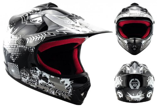 "/· Cross casque pour enfants /· MX Pocket-Bike Kids Sport Enduro Cross-Bike /· DOT certifi/é /· Click-n-Secure/™ Clip /· Sac fourre-tout /· XL 59-60cm silver Armor /· AKC-49 /""Titan/"""
