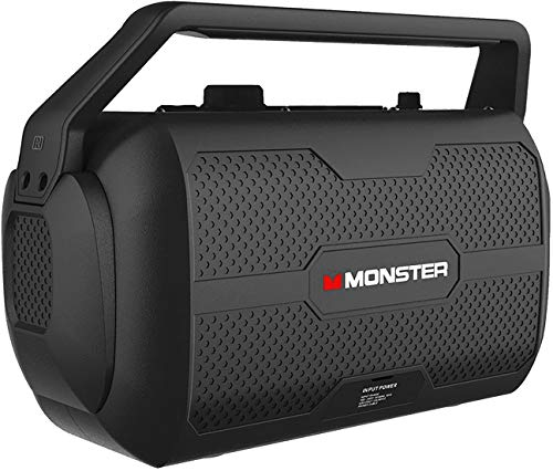 Monster Nomad | Portable Indoor/Outdoor Bluetooth and NFC Speaker, 30 Watts of Powerful Premium Sound, 30 Hours of Playtime, IPX4 Water Resistant, USB Port and Microphone/Guitar Input (Black)