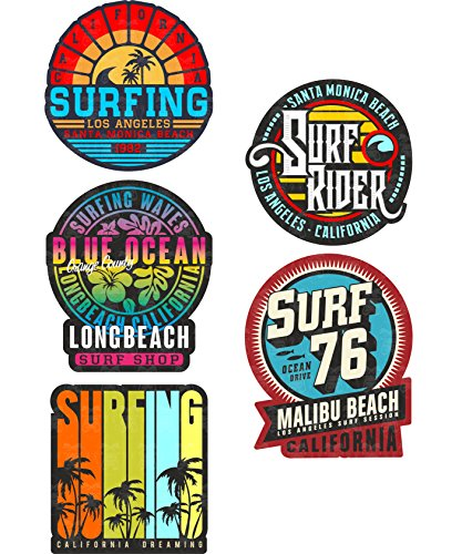 MG627 / 5x Aufkleber SURF Breite je ca. 5cm Surfing Beach Malibu USA LA Surfer Board Vintage Tuning