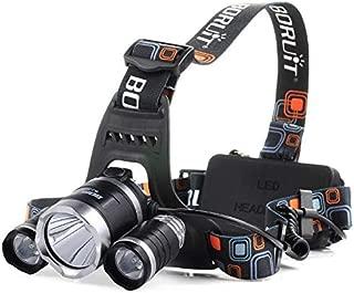BORUIT RJ-5000 Camping Headlamp 3x XM-L L2 LED Headlight 3000LM USB Charger