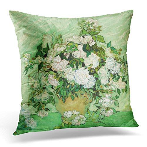 HCKZ Throw Pillow Cover Floral Flowers Vincent Van Gogh Painting Roses Fine Decorative Pillow Case Home Decor Square 18 x 18 Inch Pillowcase