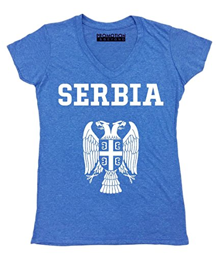 Promotion & Beyond Choose Your Country Flag Serbia Women's V-Neck, L, Heather Royal