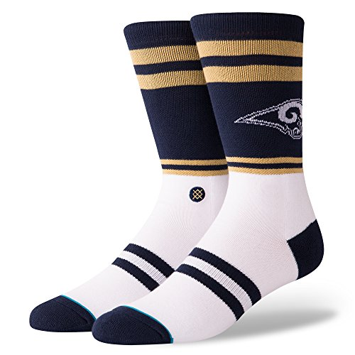 Stance M558C18RSI Men's RAMS Logo Sock, Navy - L (9-12)