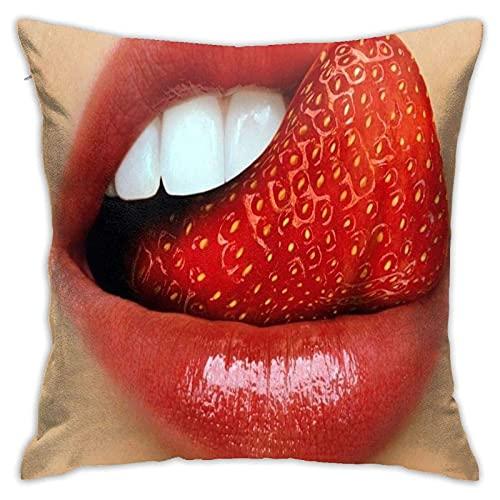 Sli8zhen - Federa per cuscino quadrato con labbra rosse e fragole, per auto, divano, casa e camera da letto, 45,7 x 45,7 cm