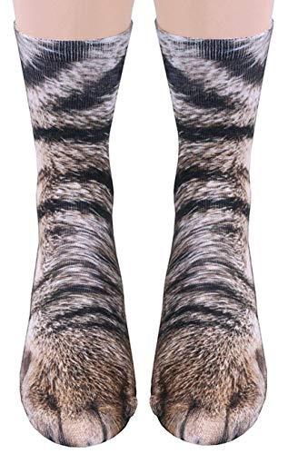 3D Socks Unisex Adult Animal Paw Crew Socks - Sublimated Print (Cat)