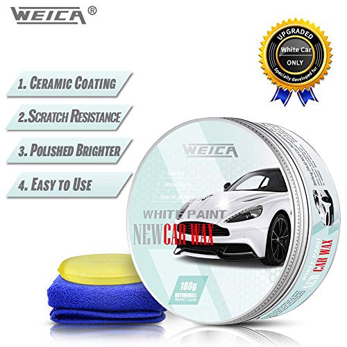 WEICA Car Wax White Solid for White Cars, Carnauba Car Wax Kit Cleaner, Car Waxing Scratch Resistance Auto Ceramics Coating 180g with Free Waxing Sponge and Towel-White