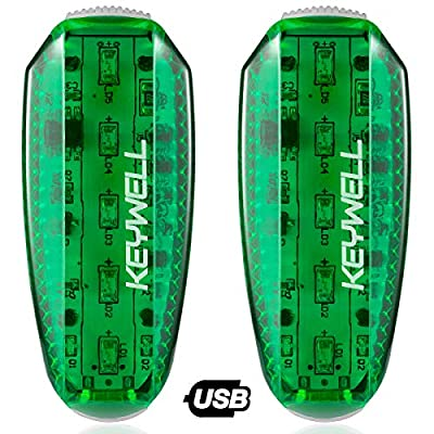 KEYWELL USB Rechargeable LED Safety Lights (2 Pack) - Clip on Strobe Running Lights for Runners, Joggers,Walkers,Kids,Dogs,Bike Tail Lights - High Visibility Accessories for Reflective Gear (Green)