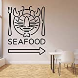 HGFDHG Etiqueta de la Pared del índice del Logotipo Mariscos Restaurante Cangrejo Pescado Bar de la Playa Comida Fresca Comedor Decoración Puerta Vinilo Adhesivo Mural