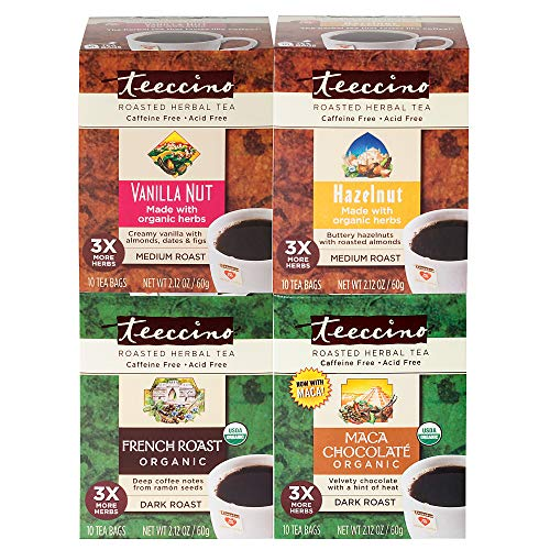 Teeccino Herbal Tea Variety Pack - Vanilla Nut, Hazelnut, Maca Chocolaté, French Roast - Chicory Coffee Substitute | Prebiotic | Caffeine Free | Acid Free | Coffee Alternative, 10 Tea Bags (Pack of 4)