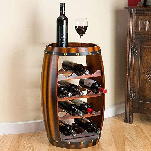 XMJ Barril de Madera para Vino, Independiente con Tapa, Soporte para 14 Botellas, Almacenamiento con Efecto de Roble, Regalo para Amantes del Vino, Altura 64,5 cm