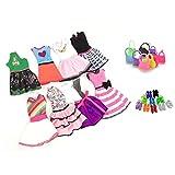 Ropa Para 29cm Muñecas, Lance Home 8 Conjuntos Vestidos+10 Pares de Zapatos+ 10pcs Bolsos Para 29cm Muñecas Accesorios Regalos Para los Niños, Estilo al Azar (28pcs)