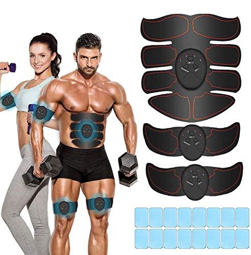 iThrough EMS Stimolatore Muscolare, Elettrostimolatore per Addominali, Elettrostimolatore Muscolare, ABS Trainer/Toner per Addome/Braccio/Vita/Gambe Home Gym con 16PCS Gel Pezzi (Nero)