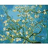 Flores de albaricoque Diy pintura al óleo digital por números flores cuadro de arte de pared por número pintura de caligrafía