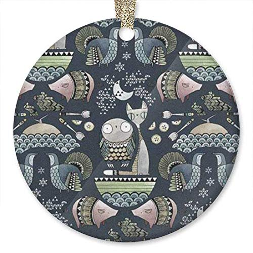 QgjayjqQ Owl and Pussycat Pattern Ornament (Round) Personalized ceramic Holiday Christmas Ornament Ideas 2019