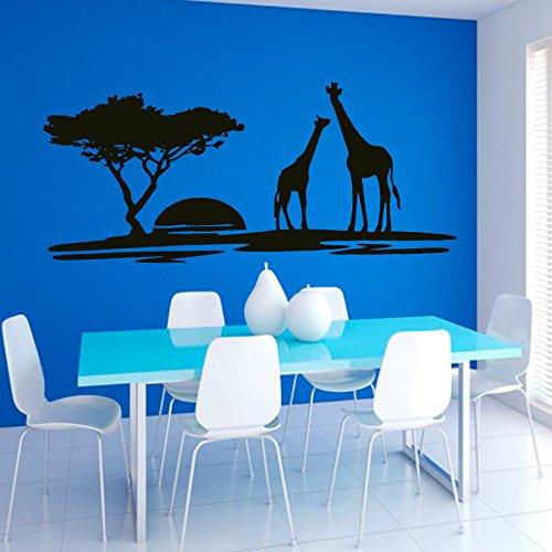 Stickers muraux Paysage Coucher de soleil Girafe Sticker pépinière art chambre à coucher vinyle autocollant Décor murale peintures Murales chambre à coucher vk30