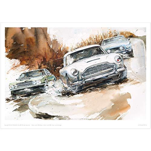 MINSEOK Old Car Poster Print | Premium A3 Art Poster (492 x 420mm) | Perfect Car Art Gifts (Aston Martin DBS Saloon, DB5, Vantage)