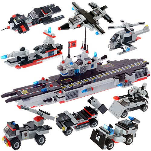 1630 Pieces Aircraft Carrier Building Blocks Set, Military Battleship Model Building Toy Kit with Army Car, Helicopter & Boat, Storage Box with Baseplate Lid, Present Gift for Kids Boys Girls 6-12