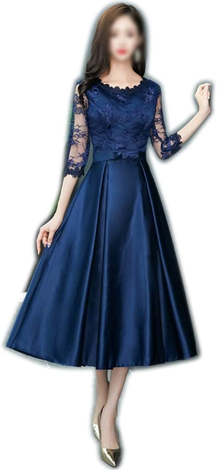 ProBikeUS Half Sleeve Round Neck High Wasit Lace Evening Dress for Women