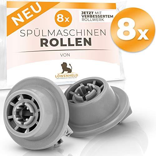 [8 Stück] – Spülmaschinen Rollen Set – Universal für viele Geschirrspüler von Siemens, BOSCH, Neff usw. - Korbrollen Ersatzteile – Jetzt mit verbessertem 2020 Rollwerk