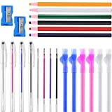 22 Pieces Sewing Fabric Marker and Tracing Tool, Include 4 Pieces Heat Erasable Fabric Marking Pen with 4 Refills, 6 Water Soluble Tailor Mark Pencil, 6 Sewing Fabric Chalk Pencil, 2 Pencil Sharpener