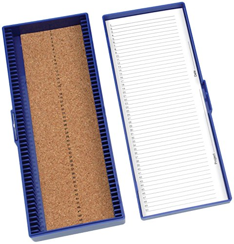 Heathrow Scientific HD15996A Blue Cork Lined 50 Place Microscope Slide Box, 8.3' Length x 3.38' Width x 1.25' Height